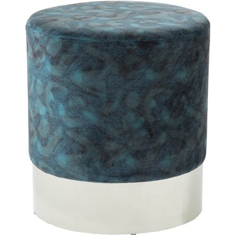 Aix Stool In Peacock Blue Velvet And Polished Stainl...
