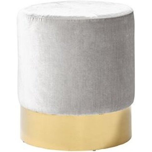 Aix Stool In Grey Velvet With Gold Plated Stainless Steel Base