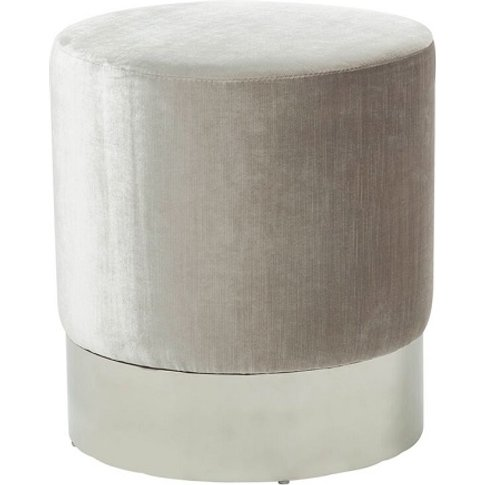 Aix Stool In Grey Velvet With Polished Stainless Ste...