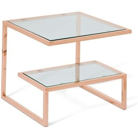 Alana Glass Lamp Table Square In Clear With Rodegold...