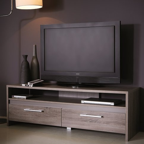 Alaska Wooden TV Stand In Dark Oak With 2 Drawers