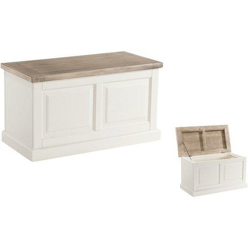 Alaya Wooden Blanket Box In Stone White Finish