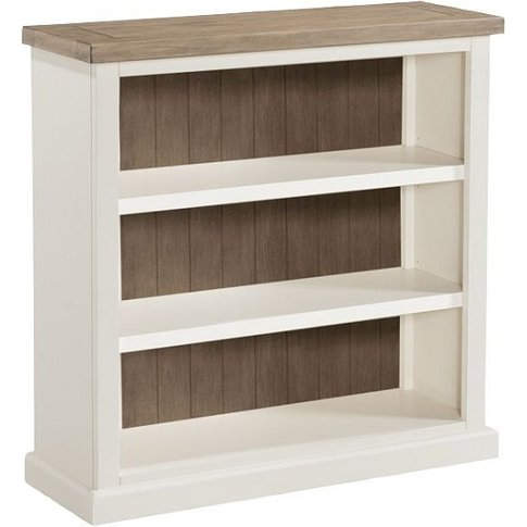 Alaya Wooden Low Bookcase In Stone White Finish