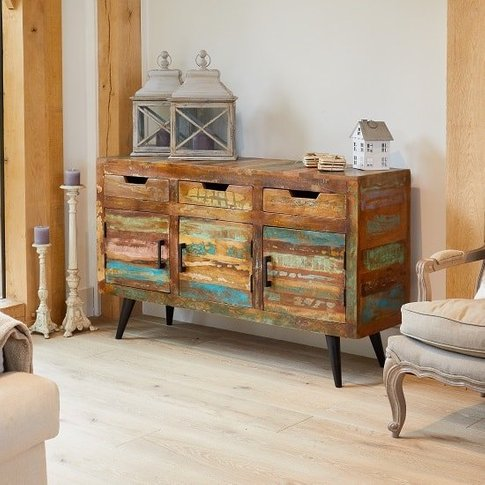Albion Wooden Sideboard Large In Reclaimed Wood With 3 Doors