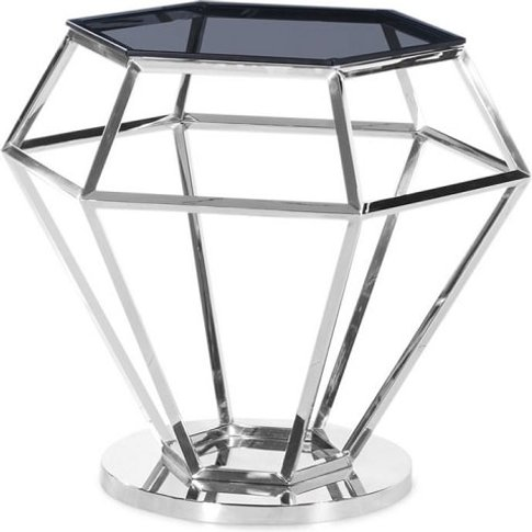 Albury Glass Side Table In Smoke With Polished Steel...