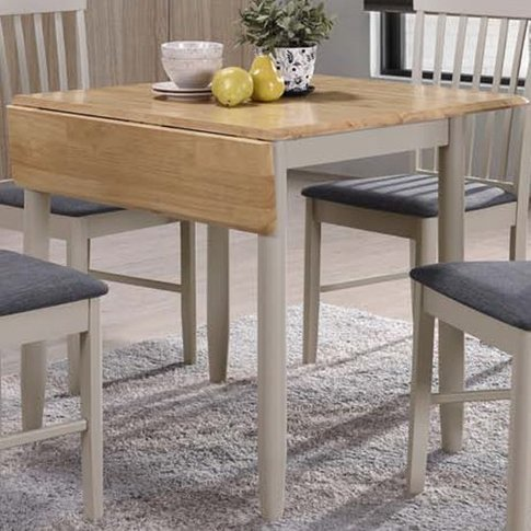 Alcor Square Drop Leaf Dining Table In Stone Grey An...