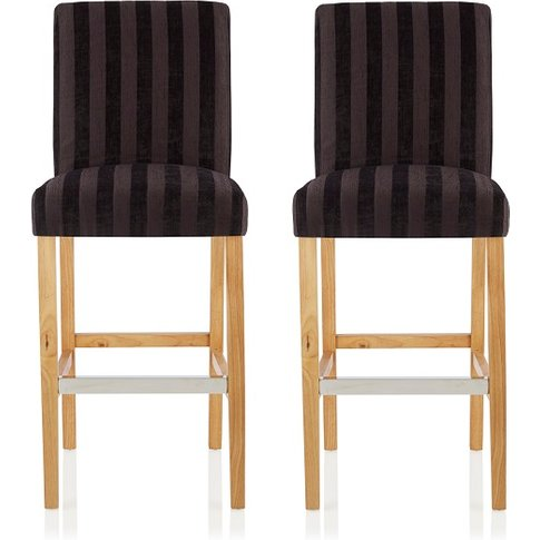 Alden Bar Stools In Aubergine Fabric And Oak Legs In...