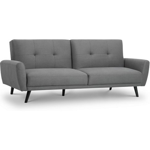 Aldonia Fabric Sofa Bed In Mid Grey Linen With Woode...