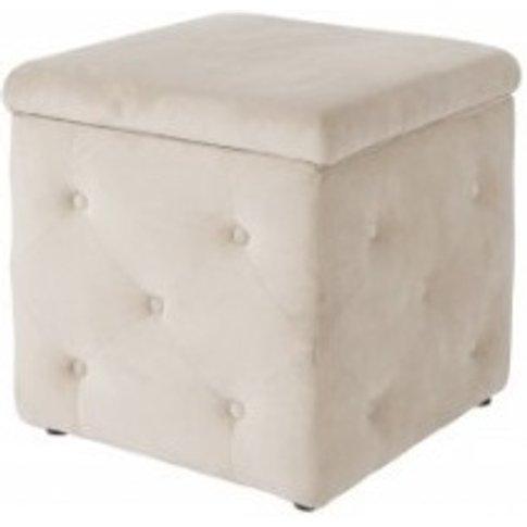 Alencia Storage Box In Beige Velvet Style Fabric