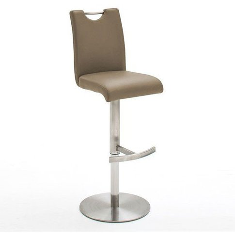 Alesi Gas Lift Bar Stool In Cappuccino With Stainless Steel Base