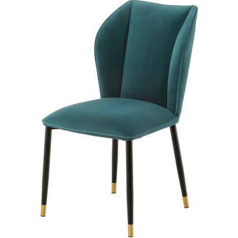 Alice Velour Fabric Dining Chair In Jade Green With ...