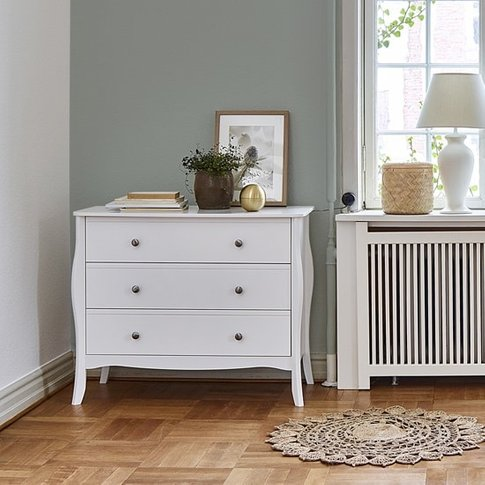 Alice Wooden Wide Chest Of Drawers In White With 3 D...