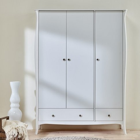 Alice Wooden Wardrobe In White With 3 Doors And 2 Dr...
