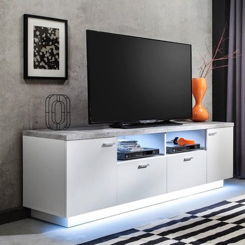 Alita TV Stand In White And Stone With 4 Doors And L...
