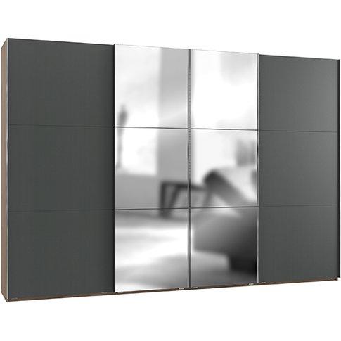 Alkesia Mirrored 4 Doors Wide Wardrobe In Graphite P...