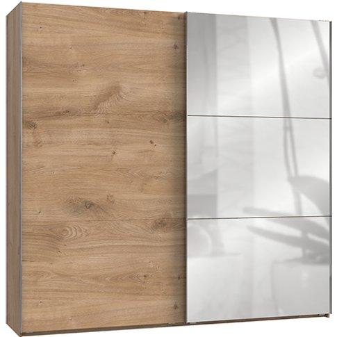 Alkesia Mirrored Sliding Door Wide Wardrobe In Plank...