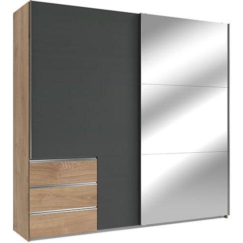 Alkesia Wide Mirrored Door Wardrobe In Graphite Plan...