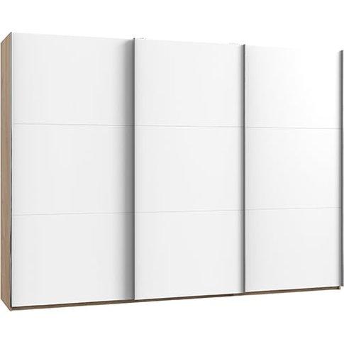 Alkesu Wooden Sliding 3 Doors Wardrobe In White And ...