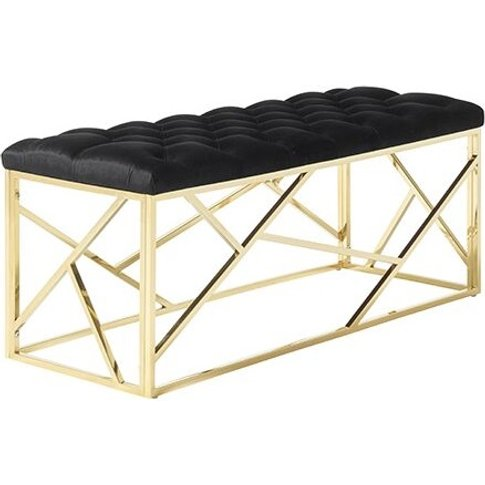 Allen Bench In Black Velvet And Gold Plated Stainles...