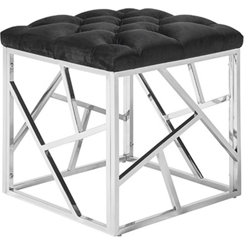 Allen Stool In Black Velvet With Polished Stainless Steel Base