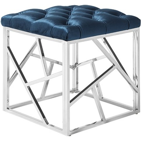 Allen Stool In Blue Velvet With Polished Stainless S...