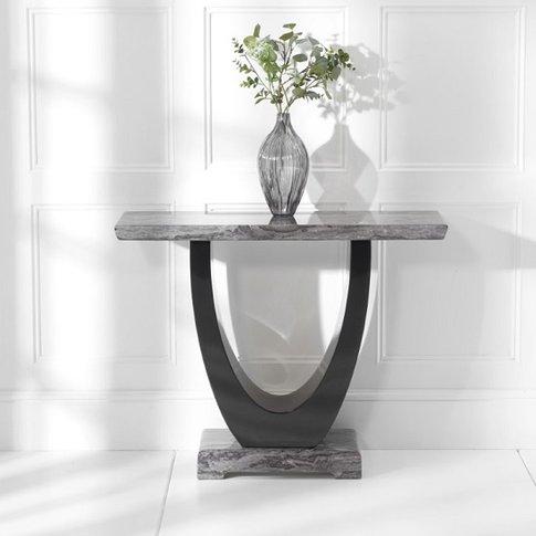 Allie Marble Console Table Rectangular In Dark Grey ...