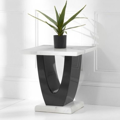 Allie Marble Lamp Table Square In White And Black