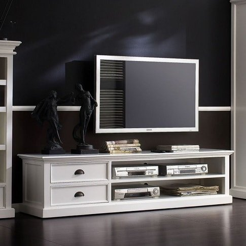 Allthorp Solid Wood TV Stand Large In White With 2 D...