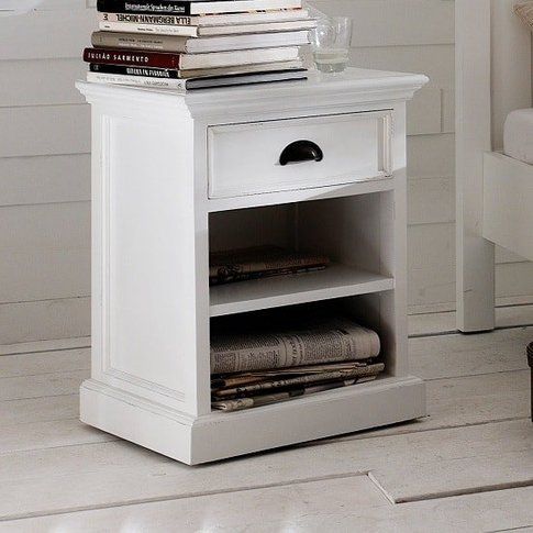 Allthorp Solid Wood Bedside Table In White With 1 Dr...