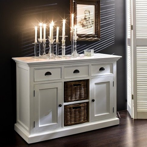 Allthorp Solid Wood Sideboard In White With 2 Doors ...