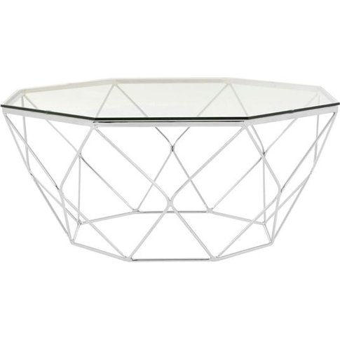 Alluras Coffee Table In Chrome With Tempered Glass Top
