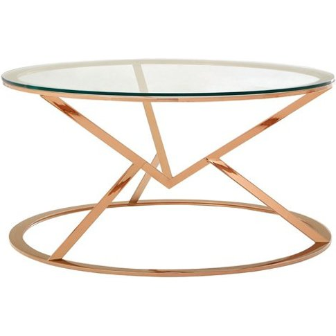 Allure Corseted Round Glass Coffee Table In Rose Gold