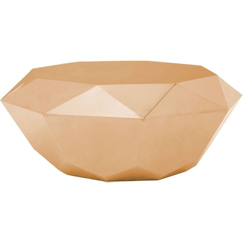 Allure Diamond Cut Coffee Table In Rose Gold