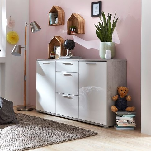 Almera Sideboard In Concrete Optics And White High G...