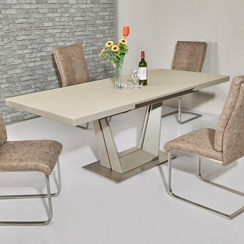 Alpena Glass Extending Dining Table In Cream With St...