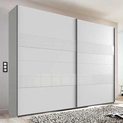 Alton Sliding Door Wooden Wardrobe In White And Grey