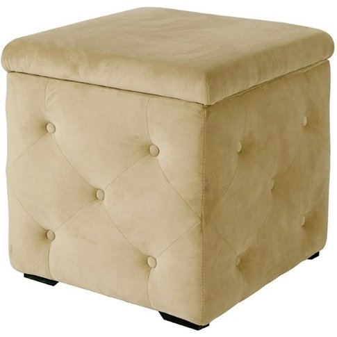 Alvaro Storage Box In Beige Velvet Style Fabric