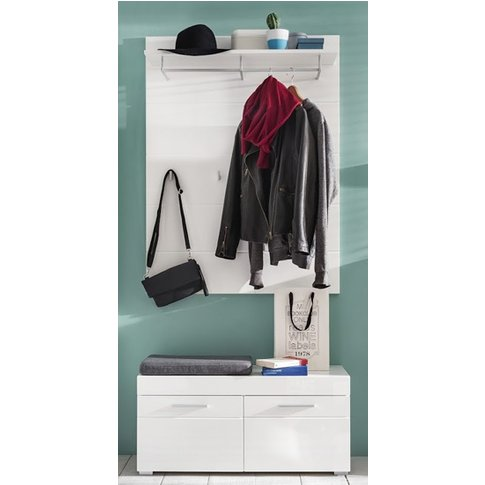 Amanda Coat Rack And Shoe Bench In White High Gloss