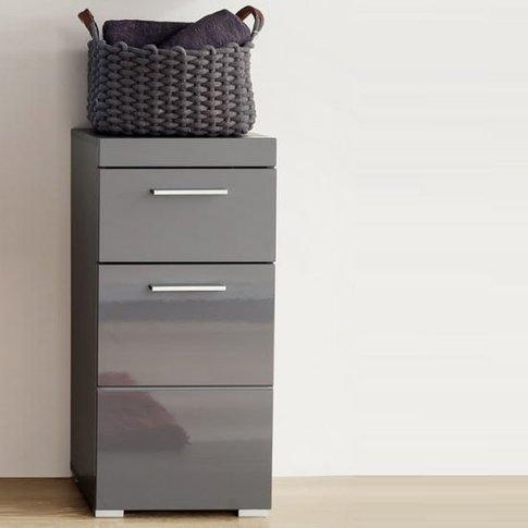 Amanda Bathroom Storage Cabinet In Grey And High Glo...