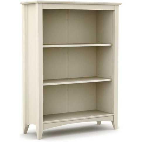 Amandes Wooden Bookcase In Stone White Lacquer Finish