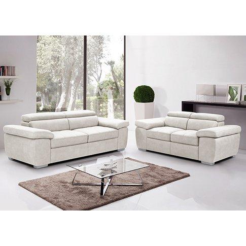 Amando Fabric 2 Seater And 3 Seater Sofa Suite In Beige