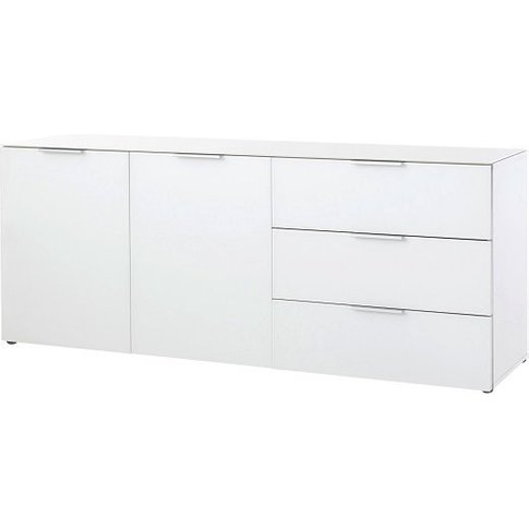 Amber 2 Door Sideboard In White With Glass Top And F...