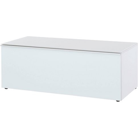 Amber Lowboard TV Stand In White With Glass Top And ...