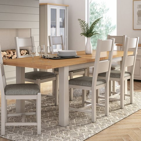 Amberly Extending Medium Wooden Dining Table In Grey