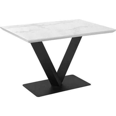 Ambrose Dining Table Rectangular In White Marble Ceramic