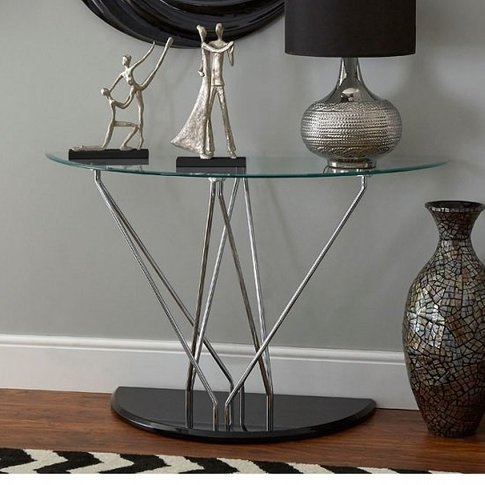 Amelia Glass Console Table Half Moon In Clear With B...