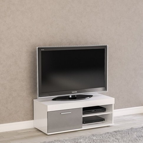 Amerax Small Tv Stand In White And Grey Gloss With 1...