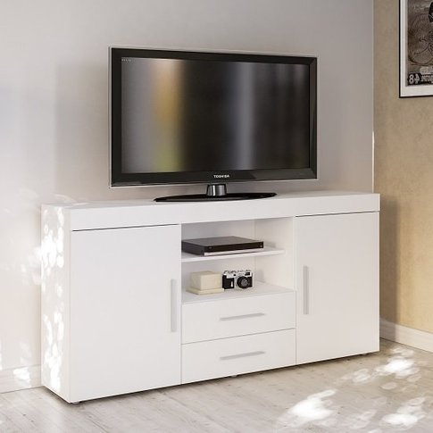 Amerax Tv Sideboard In White High Gloss With 2 Doors