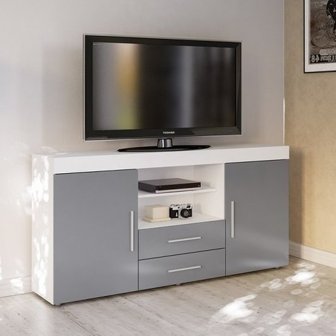Amerax Tv Sideboard In White And Grey High Gloss Wit...