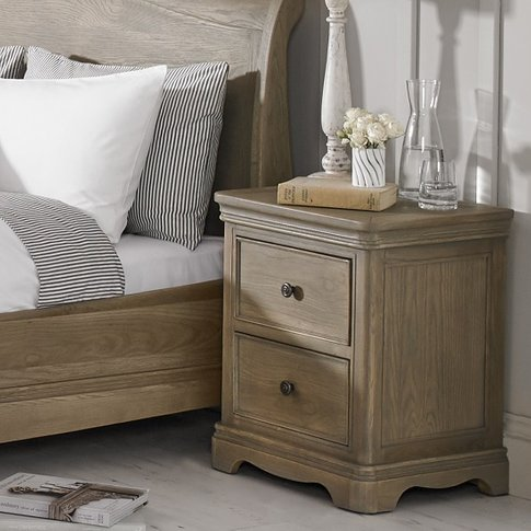 Ametis Bedside Cabinet In Grey Washed Oak With 2 Dra...